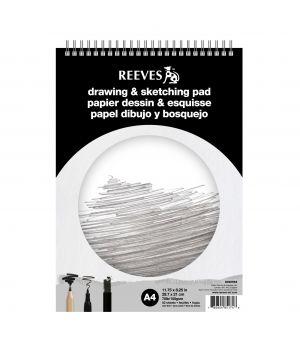 Альбом для эскизов и рисования REEVES на твердой подложке, на спирали. 50 листов А4, 150 гр/м2