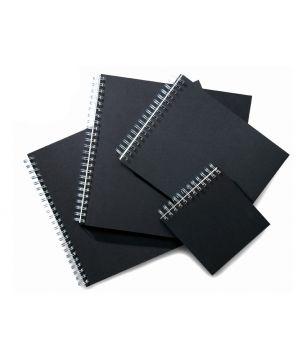 Блокнот для набросков/эскизов на двойной евро-спирали, 180 гр/м2, А3, А4, А5, 40 листов (чёрные)