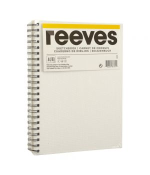 Блокнот (Скетчбук) REEVES для эскизов на спирали А4, А5, 80 листов, 120 гр/м2 (обложка - холст)