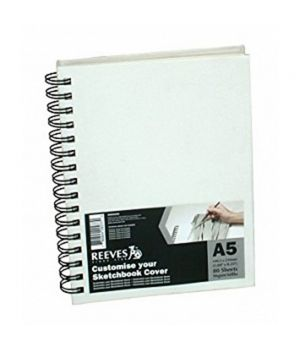Блокнот (Скетчбук) REEVES для эскизов на спирали А5, 80 листов, 120 гр/м2 (обложка - холст)