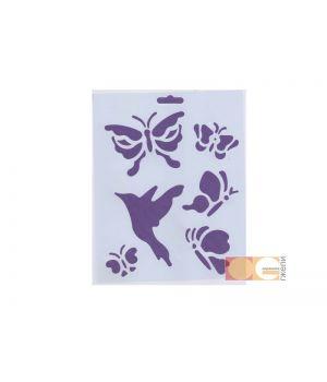 Трафарет пластиковый, бабочки, 25,5х20,5см, DK28009