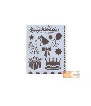 Трафарет пластиковый, день рождения, 25,5х20,5см