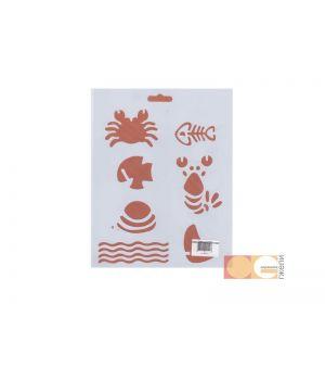 Трафарет пластиковый, морской мир, 25,5х20,5см, DK28011