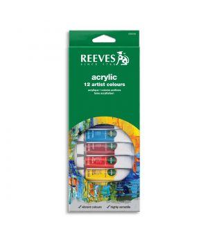 Набор акриловых красок REEVES в тюбиках, 12х10 мл, в картонной коробке с европодвесом