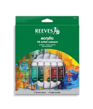 Набор акриловых красок REEVES в тюбиках, 18х10 мл, в картонной коробке с европодвесом