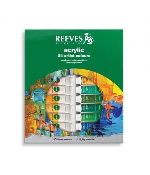 Набор акриловых красок REEVES в тюбиках, 24х10 мл, в картонной коробке с европодвесом