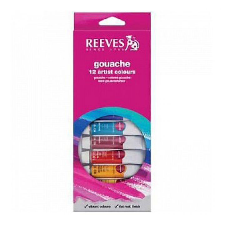 Набор гуаши REEVES в тюбиках, 12х10 мл, в картонной коробке с европодвесом