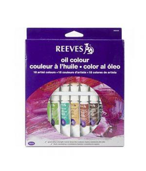 Набор масляных красок REEVES в тюбиках, 18х10мл, в картонной коробке с европодвесом