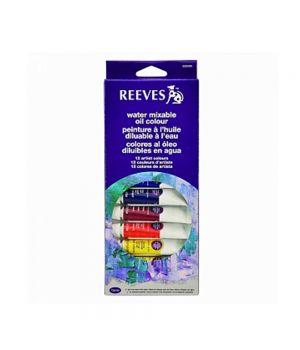 Набор водорастворимых масляных красок REEVES в тюбиках, 12х10 мл, в картонной коробке с европодвесом