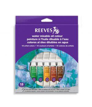Набор водорастворимых масляных красок REEVES в тюбиках, 18х10 мл, в картонной коробке с европодвесом