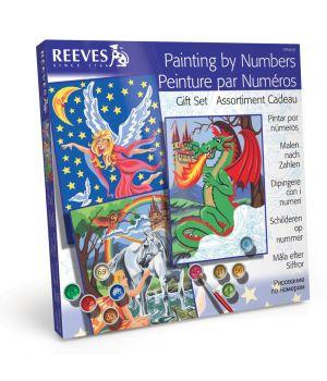 """Набор подарочный средний """"Рисование по номерам"""" REEVES (акриловые краски 21 цв.)"""