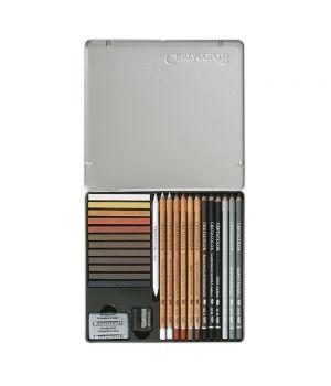"""Базовый художественны набор для рисования """"CREATIVO"""", 27 предметов, металлическая коробка"""