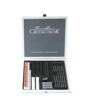 """Набор художественный """"Black&White"""" для эскизов, 25 предметов в деревянной коробке"""