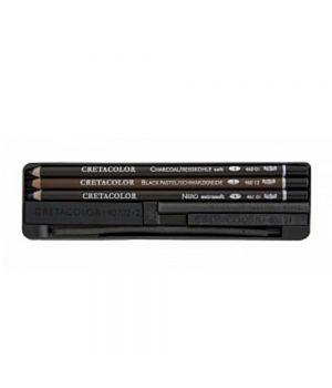 Набор художественный CretaColor 8 предметов (3 карандаша: угольный мягкий, Nero мягкий, чёрный мел; уголь, художественные бруски, кожа для полирования)