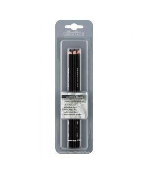 Набор угольных карандашей CretaColor в блистере, 3 карандаша мягкий, средний твёрдый