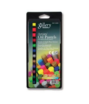 """Набор масляной пастели """"Gallery"""" серии MOP  (круглая художественная), 6 металлич. цв. + 6 флуоресцентных цв. в блистерной упаковке"""