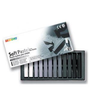 """Набор мягкой пастели """"Soft Pastels"""" 12 серых цветов, в картонной коробке"""