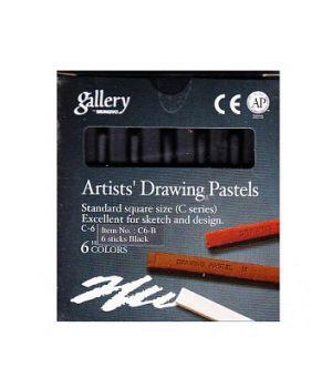 Набор пастели для рисования MUNGYO, 6 оттенков чёрного в картонной коробке