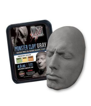 Профессиональный скульптурный пластилин Monster Clay, 2,05кг, серый, мягкий