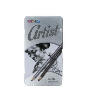 """Набор карандашей """"Artist"""": чернографитовые 10 твердостей и 2 угольных в металлической коробке"""